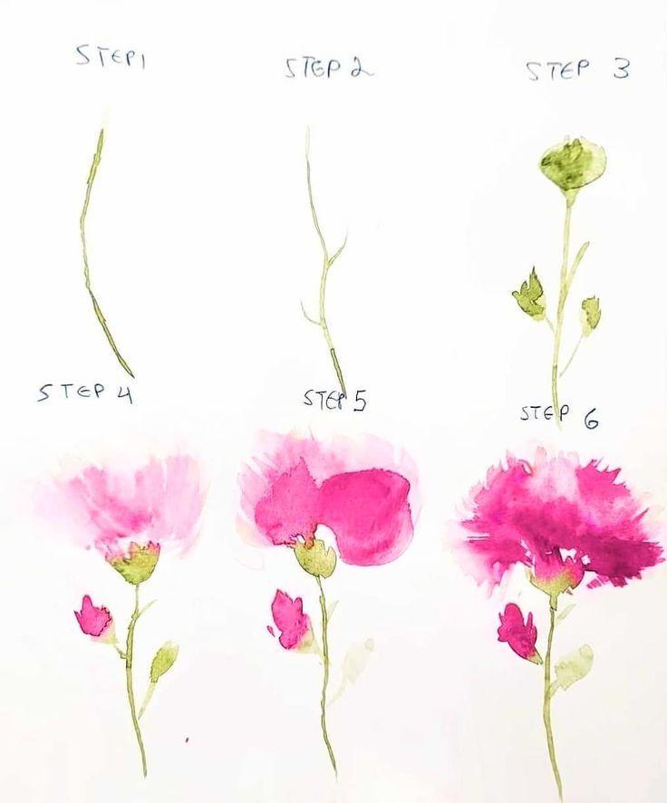️ TUTORIAL! ❤️ So malen Sie eine rosa Nelke so, wie ich es tue! 🌸 wenn Sie dieses Technik-Tag #biancasartchallenge versuchen, damit ich es sehen kann !! 😍. – Camille Caterpi