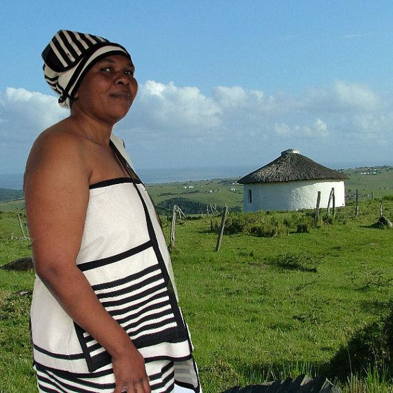 Traditional Xhosa four piece outfit in cream and by AfricanGranny, $70.00