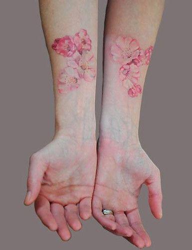 pink flowersWatercolors Tattoo, Pink Flower, Tattoo Pattern, Flowertattoo, A Tattoo, Cherries Blossoms Tattoo, Floral Tattoo, Watercolour Tattoo, Flower Tattoo