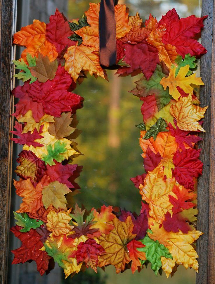 Fall Leaves Wreath - I like the square design. Great for autumn...