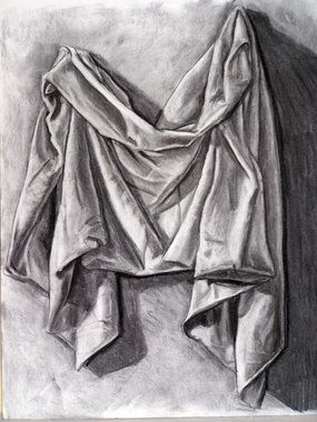 Objective: Create a pencil drawing that shows the value and form of fabric Steps: 1. Get a piece of fabric ( you may want to use a solid color) 2. Arrange the fabric on a table or pin it to the...