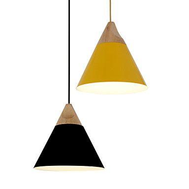 Mini Artistic Cone Pendant Lamp/1 Light/Mordern Simplicity/Finish Black/White/Yellow/Aluminum & Wooden Droplight 2016 – $94.37
