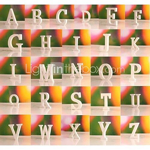 freestanding legno lettere di legno bianco h. 10cm - USD $ 0.99