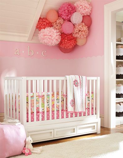 repurpose the flowers! #potterybarnkids...Perfect ode to Pinterest as I found a great tutorial site on tissue poms poms which after using them for the little one's party could be placed inside her nursery as part of the room's decor