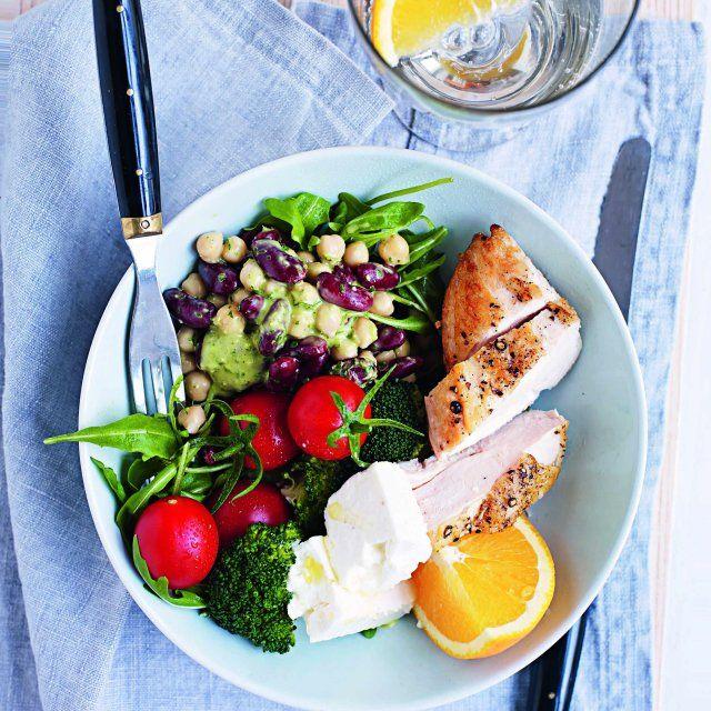 Hälsotallrik med kyckling och bönor
