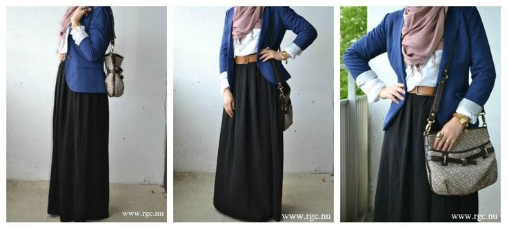 A nice complimentary and neutral colour combo. With the black skirt and white dress shirt as neutrals and the royal blue cardigan along with the light tea-ish pink hijab to compliment the outfit.  The brown belt gave the whole theme a nice balance. Good choice of accessories. Well thought out look :)