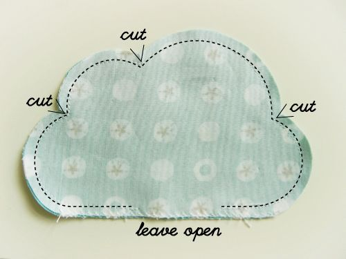sewing a cloud. Great for a pillow. #diy