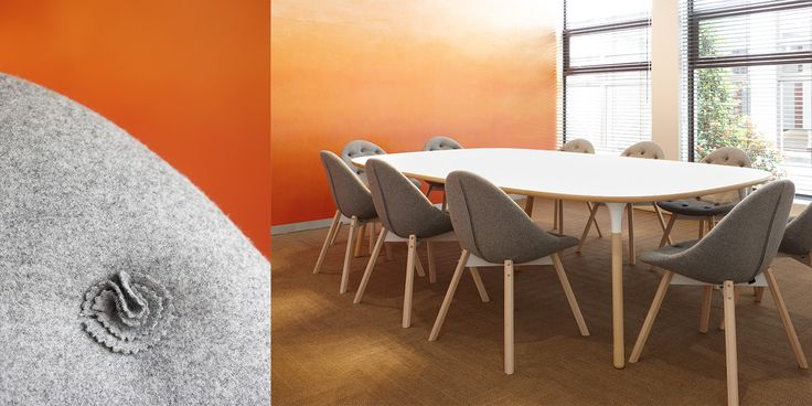 White boardroom table and grey Source Upholstered chairs by Haldane Martin | Environ Skin Care office interior | interior design by Haldane Martin  | photography by Micky Hoyle
