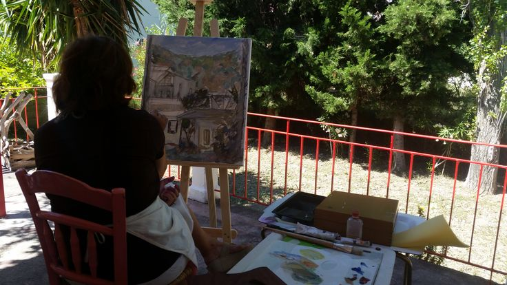 Painting workshop at the veranda of the Metaxart studio