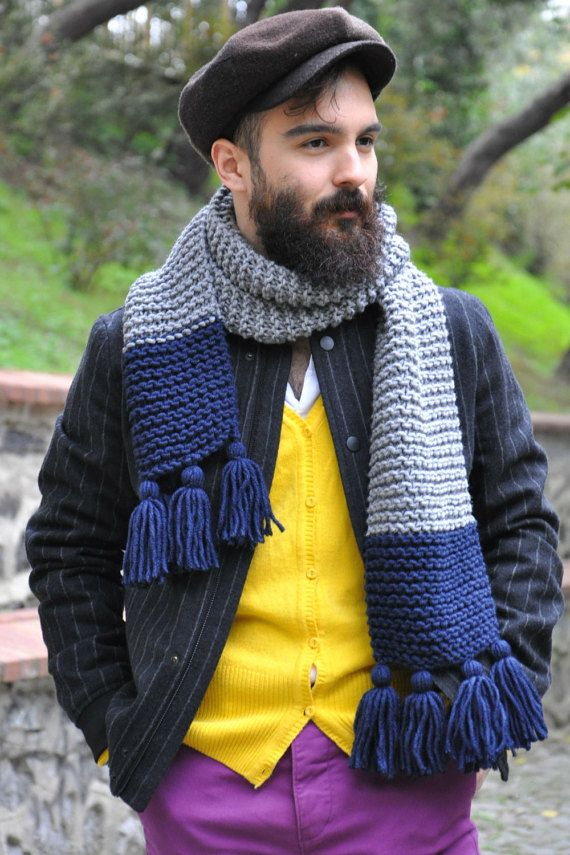 crochet scarf for him. knit scarf with tassel. new year gift ideas. men style