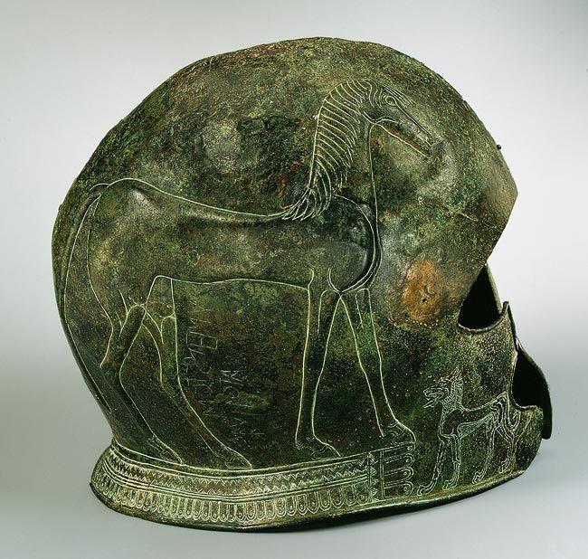 Archaic Greek Bronze Helmet, late 7th century BC