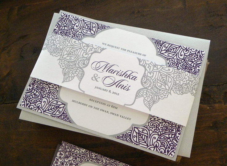 Silver And Purple Wedding Invitations: Layered Wedding Invitation Set In White