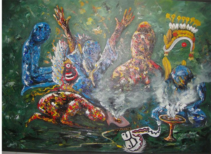 "Lukisan acrylic on kanvas  120 x 80 cm ""RELIGI & SENI"" dipamerkan di Gedung Wanita Banyuwangi 2014"