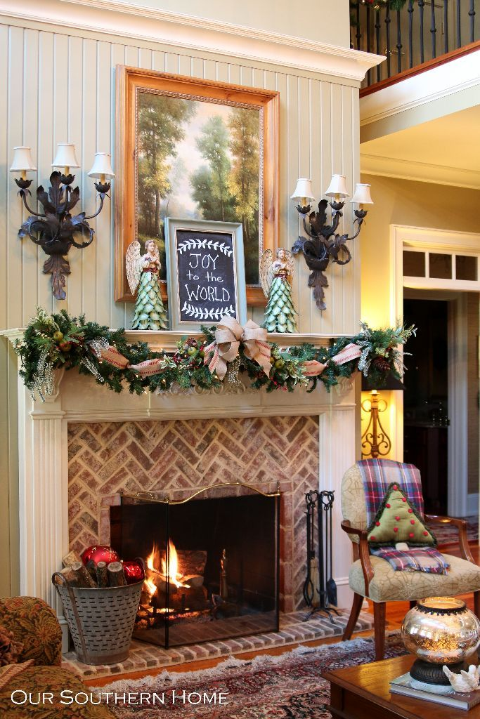 Southern Christmas Home Tour Part 1  Fireplaces, Patterns  ~ 143239_Transform The Look Fireplace Decorating Ideas