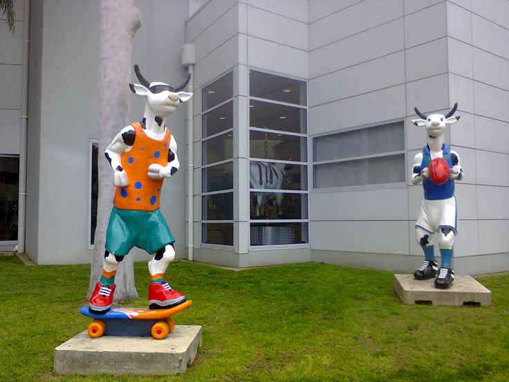 TO DO IN SHEPPARTION - Finding the cows playing sport is one of the fun things to around the Shepparton CBD.  For more fun, unique, and memorable things to do around Shepparton, Victoria, click this link... http://hurlstonehomestead.com.au/things-to-do-shepparton-victoria-art-attractions-tours-events-food-wine-things-to-do-shepparton-area-hurlstone-homestead-guests-shepparton-locals/ #travel #australia #art #cows #shepparton