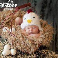 2016 Hecho A Mano Del Polluelo Del Bebé Foto Recién Nacido Apoyos Divertidos Sombreros Del Bebé Accesorios de Fotografía de Punto Gorro de lana Para Los Recién Nacidos