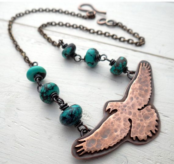 I love everything in this shop! Raven Flight  hammered copper bird pendant by LostSparrowJewelry