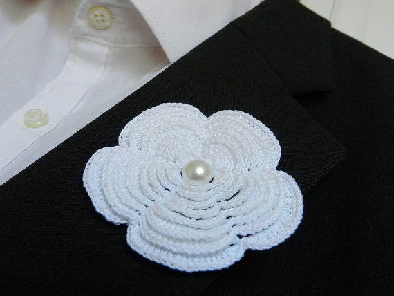 Bride Groom Groomsman Lace Buttonhole Flower White by www.hookcrochet.com