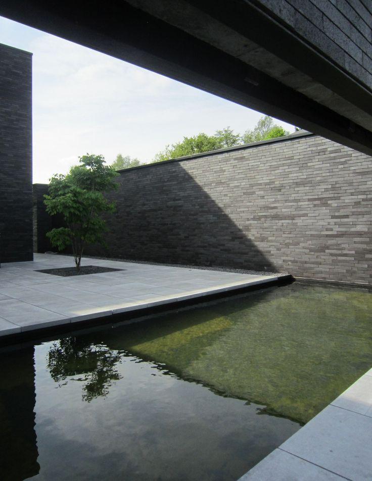 Moderne tuin met gras en water element