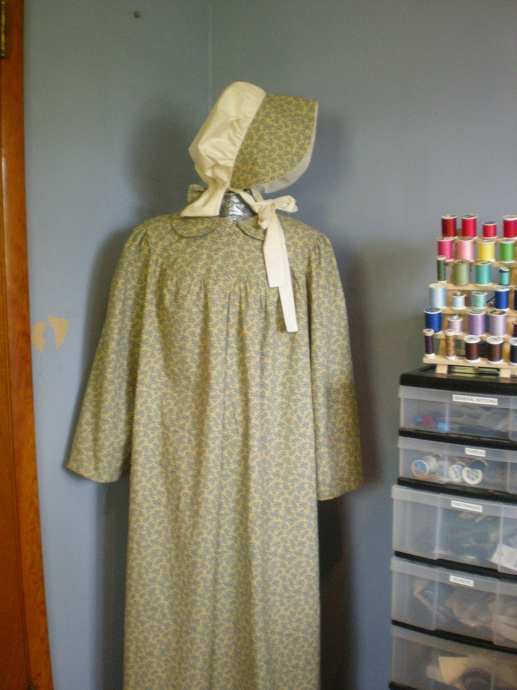 Pioneer dress and bonnet for a friend going on a wagon train adventure with her grandson. Brim and bow match the dress.The Dress