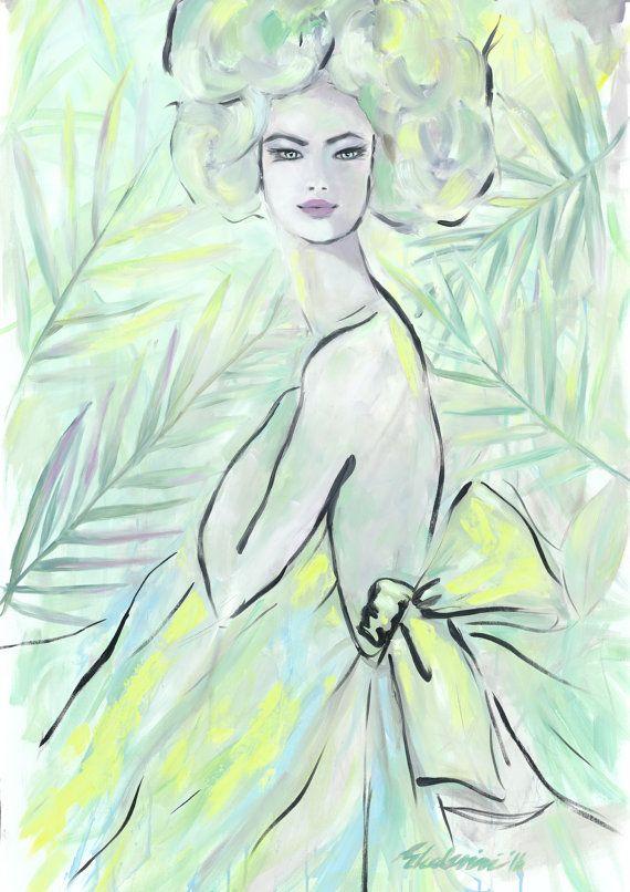Green Shade Dress Oil Painting Print von NanaArtfullyMade auf Etsy