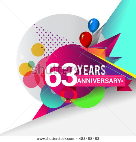 63 years Anniversary logo, Colorful geometric background vector design template…