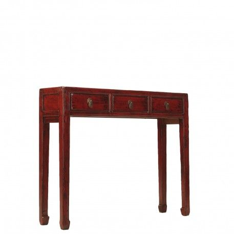 red lacquer hallway table three drawer console orchid