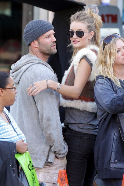 Jason Statham and Rosie Huntington-Whiteley on the set of his new movie Safe