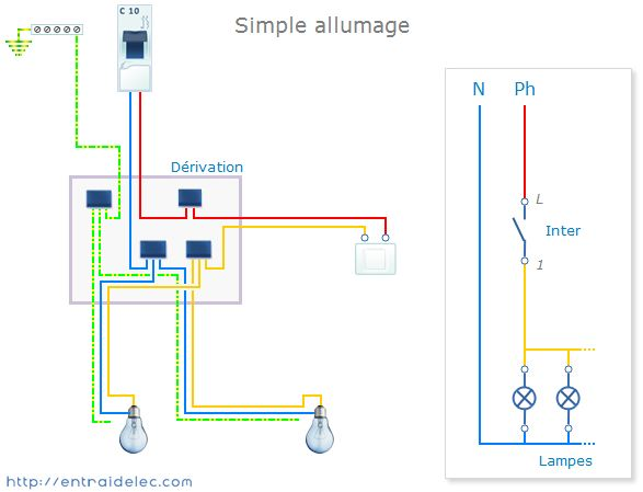 Plusieurs lampes en parral le schema lectrique pinterest - Schema simple allumage ...