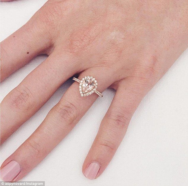 The bling: She took to her 877k Twitter followers with a close-up photo of her rose gold diamond-entrusted ring