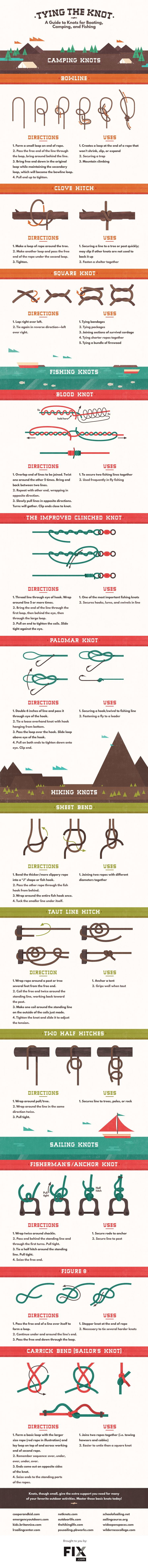 If the only knot you know involves tying your shoes, then this infographic provides clear, step-by-step instructions on tying some of the most useful knots out there.
