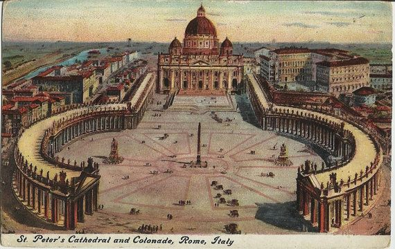 St. Peters Cathedral and Colonade, Rome, Unused  c.1920 Postcard, Italy