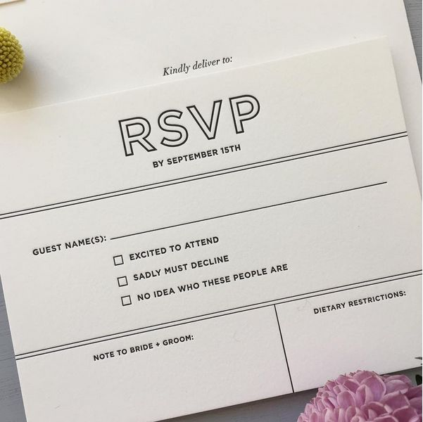 40 wedding rsvps for couples who playtheir own rules