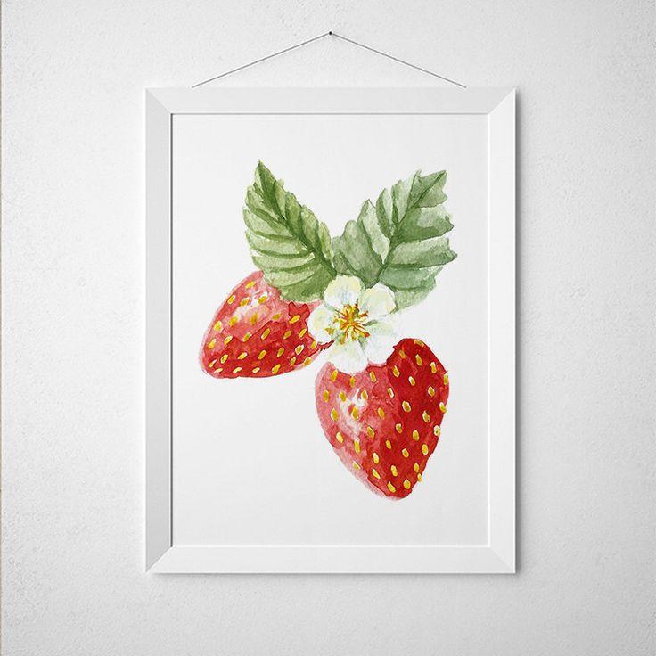 Strawberry decor kitchen print berries poster food print - Strawberry kitchen decorations ...