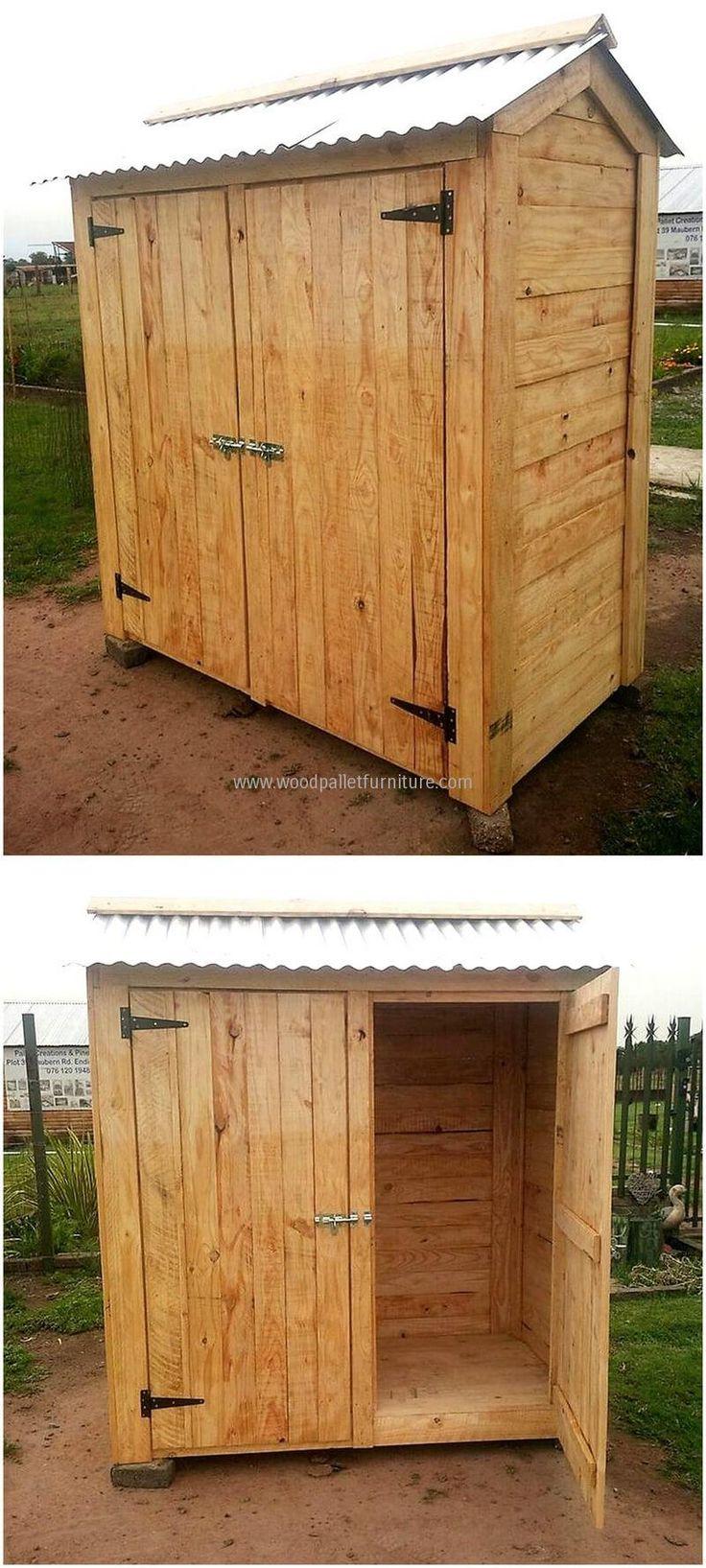 pallets made garden cabin idea