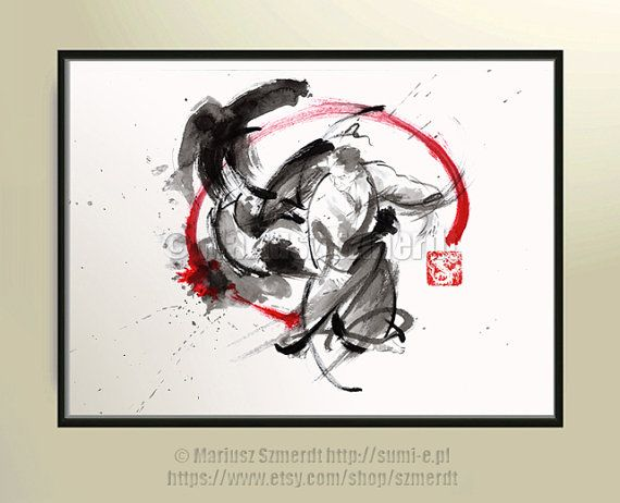 Aikido circle zen painting martial arts gift for him by SamuraiArt, $120.00