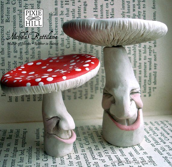 One Large Pleasantly Pleased Redcap Toadstool by PixieHillStudio, using paper clay