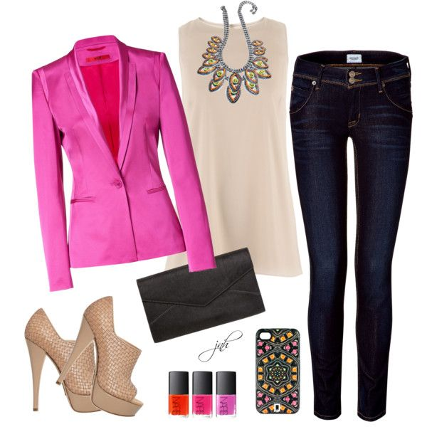 Neon Pink Blazer (outfit only), created by jill-hammel on Polyvore