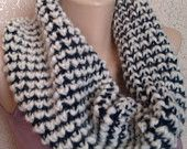 Blue and White Scarf Knitted scarf Infinity Circle scarf Hand knit Scarf