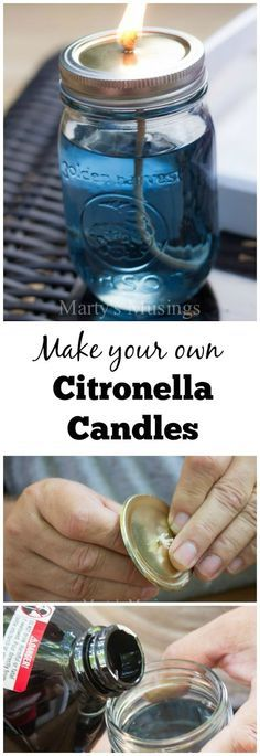 How to Make your own Citronella Candles--will be good to do this summer