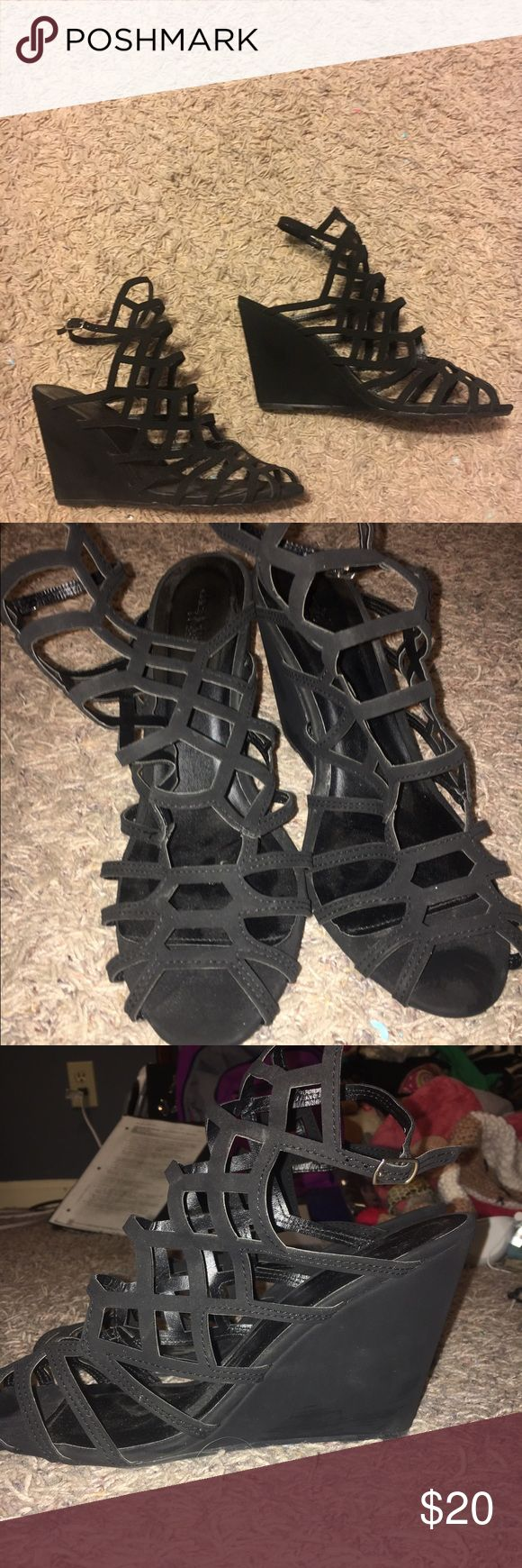 Strappy Wedges from Charlotte Russe (black) These black strappy wedges are so comfy and stylish! They were worn for about an hour at a band banquet! More pictures can be provided upon request. Happy posting ✨ Charlotte Russe Shoes Wedges