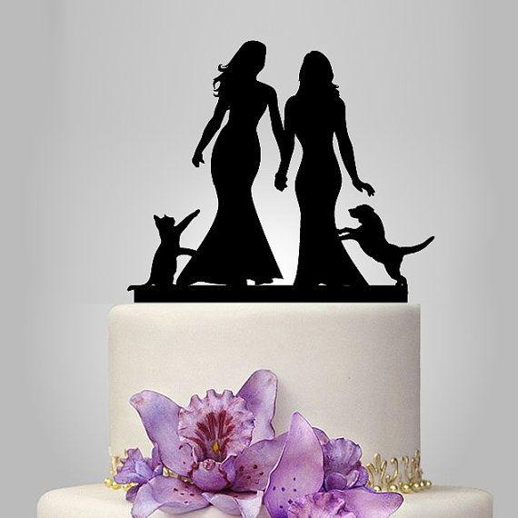 Lesbian cake topper same sex wedding cake topper by walldecal76