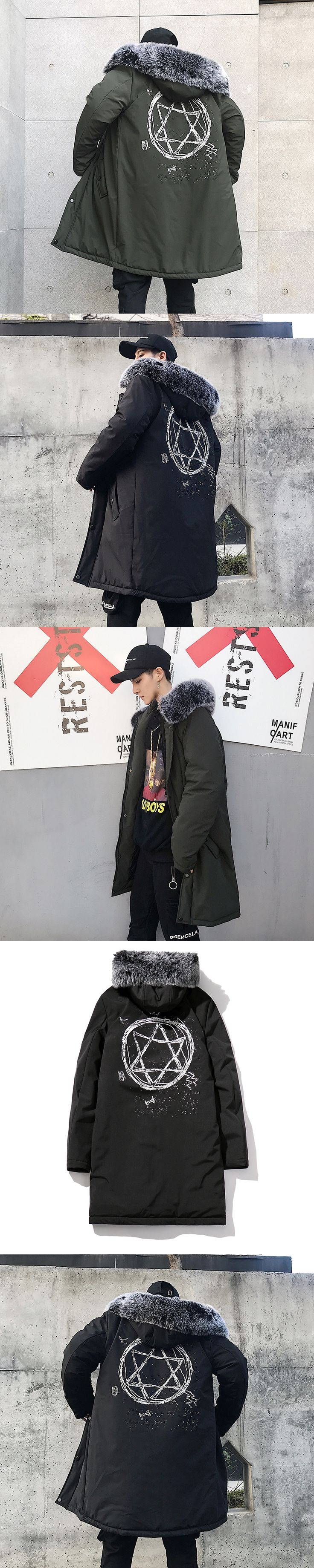 long parka men winter fur collar designer men winter coat jacket manteau hiver homme black green 3xl parka homme fourrure