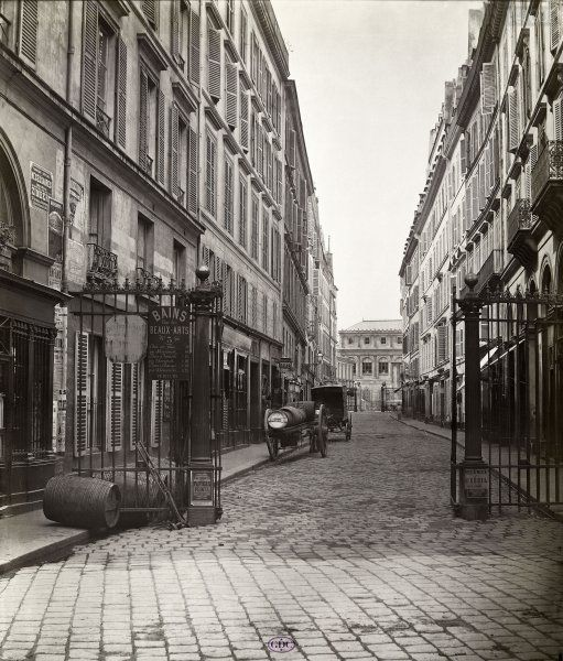 Rue des Beaux-Arts, de la rue de Seine. Paris VIe, 1867; photographed by Charles Marville