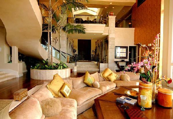 lounge area furniture in luxury tiger woods home in hawaian island  nice structure