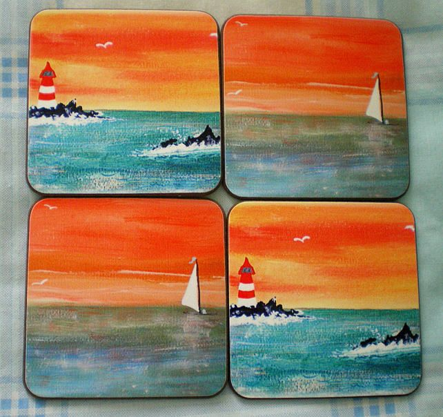 Four coasters, Wooden coasters,Home decor, Drinks coasters,Sunsets,Seascapes, £14.40