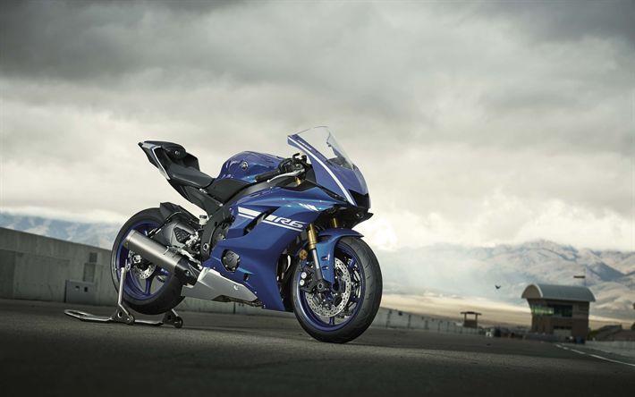 Descargar fondos de pantalla 4k, Yamaha YZF-R6 de 2017, bicicletas, motos deportivas, japonés de motocicletas, Yamaha