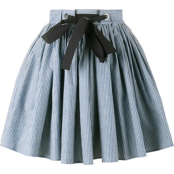 Miu Miu stripe A-line skirt (£635) ❤ liked on Polyvore featuring skirts, blue, striped a line skirt, cotton stretch skirt, blue cotton skirt, blue stripe skirt and tie waist skirt