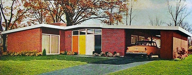 Atomic Ranch, low roof line, carports, brightly painted front doors