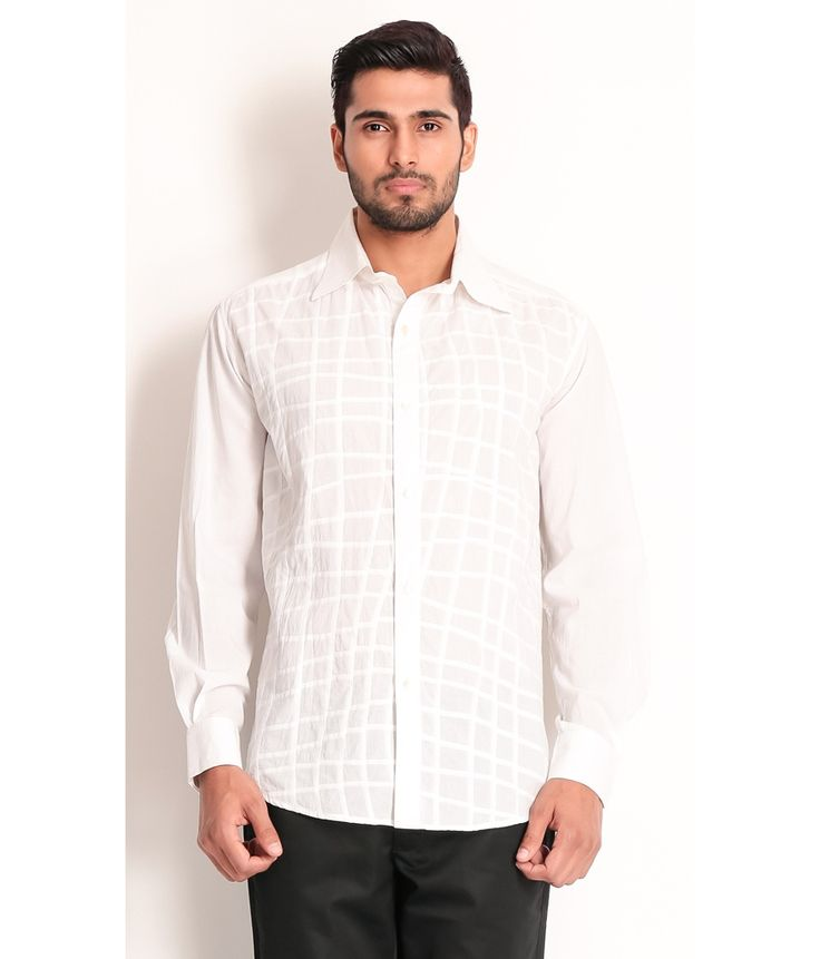 Samant Chauhan White Cotton Shirt with Pleated Effect, http://www.snapdeal.com/product/designer-wear-white-cotton-shirt/148629231